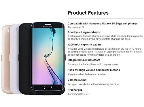 Power Case Samsung Galaxy S6 Edge 4200 mAh – Ricarica Rapidamente Il Tuo Cellulare con Questa Custodia/Custodia con Batteria Esterna di Colore Bianco.