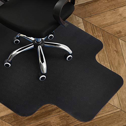 Schwarz Bodenschutzmatte mit Lippe Büro Stuhl Unterlage 120 x 90 cm für Hart Boden, Anti-Rutsch, Nicht-Kurve, Perfekter Sitz auf Tischecken, BPA frei Kunststoffschutz