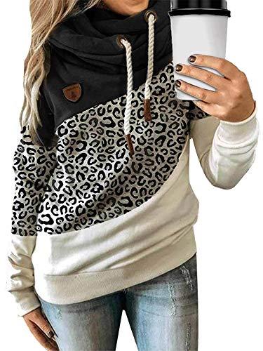 Sudadera de manga larga con capucha para mujer, cuello de vuelo, con capucha, estilo casual, con capucha