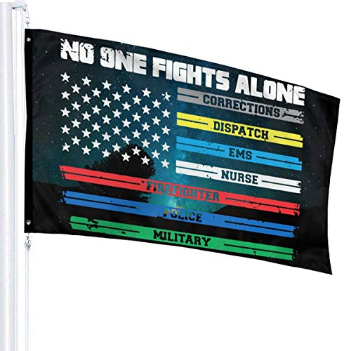 JpnvxiE No One Fights Alone First Responders Flags 3x5 Fit for Lawn Patio Yard Garden Terrace Balcony Durable Dorm Room Home Outdoor Decor Fade Resistant Banner for Festival Holiday Gala Ceremony