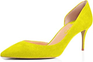 2ee26a4d5a2 XYD Sexy Mid Heel D Orsay Shoes Pointed Toe Slip on Patent Suede Kitten  Pumps