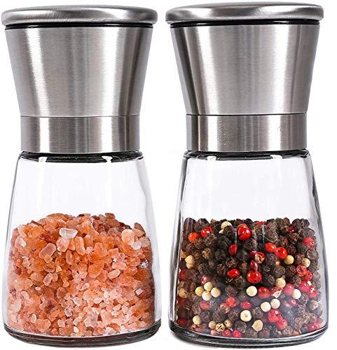 Meelio Salz und Pfeffer Mühle Set, Edelstahl Grinder, Chilimühle, Verstellbarem Keramikmahlwerk, Gewürzmühlen (2 Stück)