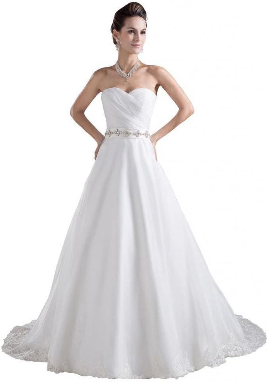 Dearta Women's ALine Sweetheart Court Train Charmeuse Wedding Dresses
