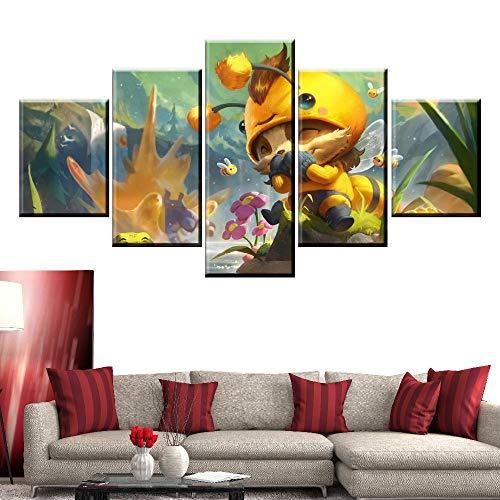 ZHANGGONG Bild på duk – canvasbilder – fem delar bilder – fem delar – redo för upphängning – bilder konsttryck – hus dekoration affisch league väggmålning ram/150 x 80 cm
