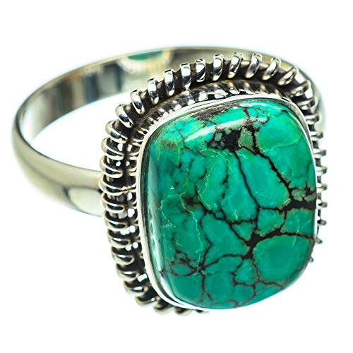Ana Silver Co Tibetan Turquoise Ring Size Z+1 (925 Sterling Silver)