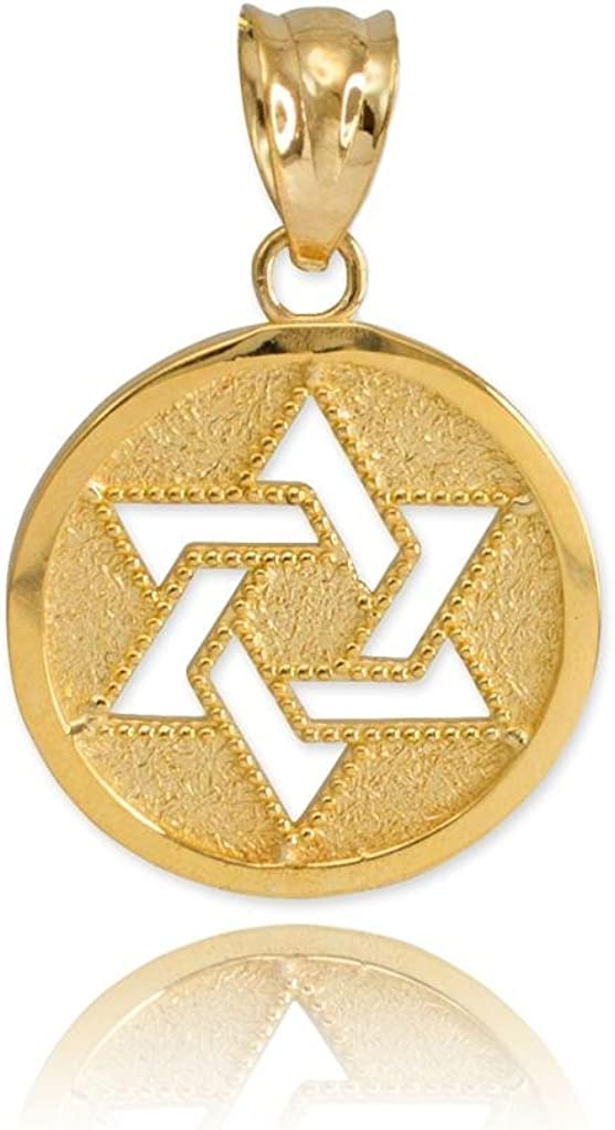 Fine Safety and trust 10k Yellow Gold Milgrain-Edged Medal of Jewish Star Product C David