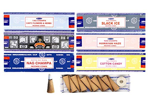 Satya Sai Baba Incense Dhoop Cones 6 Packs with 12 Cones Each (72 Cones Total) (Tribal Blend)