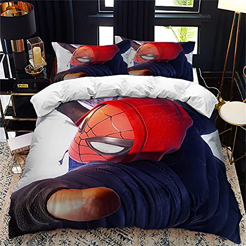 HMSMGS Spiderman, set di biancheria da letto con copripiumino Spiderman, per la tua bambina o il tuo bambino amerà questo copripiumino a tema (Spid4,220 x 240 cm + 80 x 80 cm x 2)