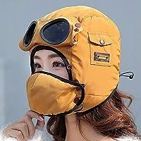 Cong-LL 帽子 眼鏡をかけた女性の子供の防水フードの帽子のためのの デザインのファッション暖かいキャップ冬の男性の冬の帽子はバラクラバを冷却します (Color : Adult yellow, Size : One Size)