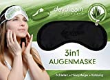 daydream patentierte Schlafmaske mit Aloe Vera-Rückseite, schwarz (B-7000) für Frauen & Männer | Schlafmasken | Schlafbrille | Augenmaske | Augenklappe | gratis Kühlkissen (= Kühlmaske) | Topseller