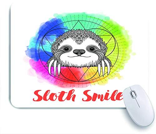 Marutuki Gaming Mouse Pad Rutschfeste Gummibasis,Regenbogen farbiges Hintergrundbild mit skizzenhaftem glücklich lächelndem Cartoon-Faultier-Kunstdruck,für Computer Laptop Office Desk,240 x 200mm