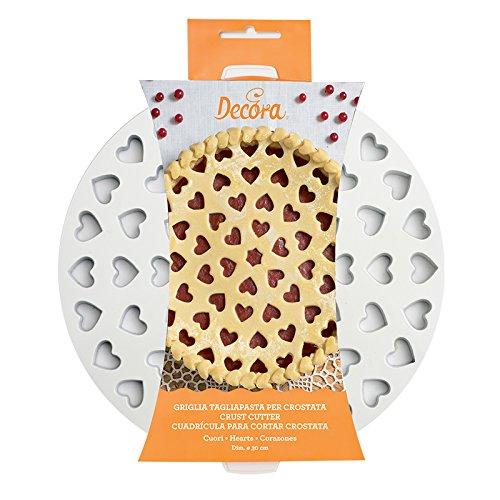 Decora 0215801 Griglia Tagliapasta per Crostate Cuori, Plastica, ø 30 cm, Bianco