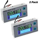 2 Pieces Battery Meter Monitor with Low Voltage Buzzer Alarm 10-100V Digital Battery Capacity Tester Battery Capacity Indicator Battery Meter Golf Cart Voltage Temperature Switch Meter Panel