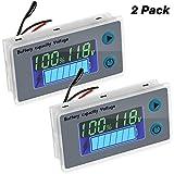 Monitor di Misuratore di Batteria con Allarme Acustico di Bassa Tensione Tester di Capacità di Batteria Digitale 10-100V Indicatore di Batteria Misuratore di Temperatura Tensione (2 Pezzi)