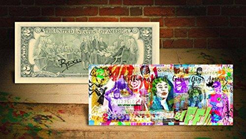 BATMAN GOTHAM CITY Rency/Banksy ART on GENUINE Tender U.S. $2 Bill HAND-SIGNED