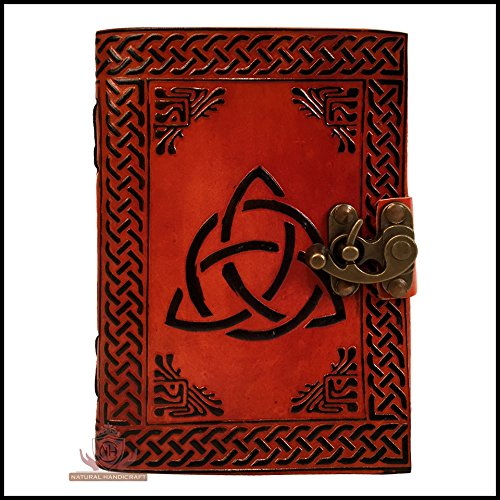 Leather Journal Celtic Knot Handmade Embossed Brown Notebook Book of Shadows Personal Organizer Planner Office Handbook Sketchbook Diary Poetry Book 5 x 7 inches