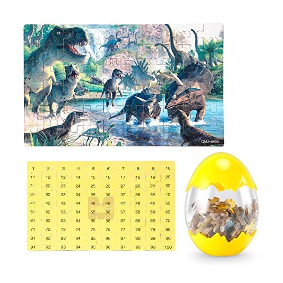 Dinosaur Puzzle, Wooden Puzzles 60 Pieces Puzzles for Kids 3 Years+ Dino Toys 2 Pack Boys Girls Gift 5 ❤SUPER HUGE SIZE DINOSAUR EGG TOY:8.7'' * 5.2 '' , kids need two hands to hold it, combining dinosaur egg with dinosaur puzzle, all kids love it! ❤THE BEST GIFT: Dinosaur Puzzle is suitable for children of 4-5-6-7-8-9-10-11-12 years old as a gift, Christmas, Easter, birthday, game party. ❤EDUCATIONAL DETAILS: This children's dinosaur puzzle allows kids to explore our prehistoric time period, learning about the environment in which the dinosaurs from millions of years ago lived.