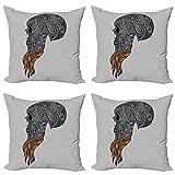 ABAKUHAUS Indie Set de 4 Fundas para Cojín, Arte Abstracto cráneo Barba, Estampado Digital en Ambos Lados y Cremallera, 40 cm x 40 cm, Negro Gris pálido Naranja