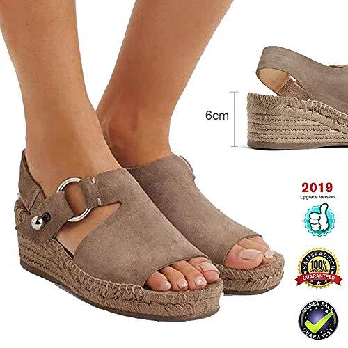 Sandals Plateau Espadrilles dames retro wedges Peep Toe gesp enkelriem voor dames zomer mode platte veters 6 cm hoge hakken leer slingback schoenen casual comfortabel bruin