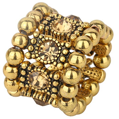 YACQ Women's Stretch Band Rings Fit Finger Size 6-1/2 To 9 - Soft Elastic Band Perfect for Arthritis - Silk Scarf Holders - Lead & Nickle Free - 4/5 Inch Wide (Gold)