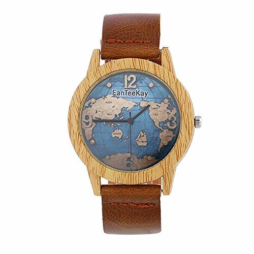 MINILUJIA reloj de madera de bambú con mapa del mundo, para mujer,...
