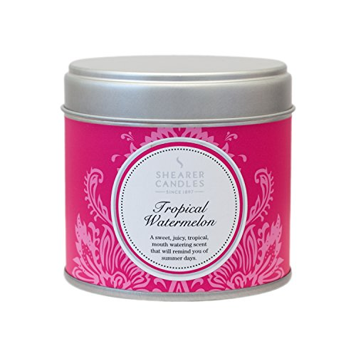 Shearer Candles Tropical Watermelon Large Scented Silver Tin Candle-White, Pink, l x 7.5cm w x 7.2cm h