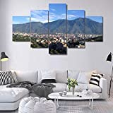 OCRTN Avila Caracas Mountain Canvas Print Pintura Arte de la Pared Poster Decoración Moderna del hogar Cuadros de la Sala de Estar 5 Piezas - 40x60 40x80 40x100cm Sin Marco