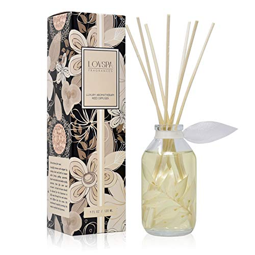 LOVSPA Coconut & Eucalyptus Reed Diffuser Oil Set - Scented Stick Room Freshener - Creamy Coconut, Eucalyptus, Mint, Tonka, Vanilla Sugar - Made in The USA