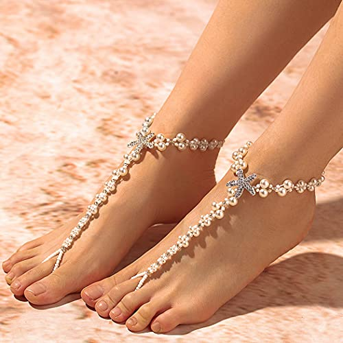 Campsis Boho Pearl Anklet Chains White Bling Starfish Rhinestone Barefoot Chain Vintage Foot Jewelry Anklets Sandals Wedding Beach Jewelry Accessories for Women and Girls(2pcs)
