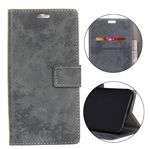 Sunrive Hülle Für bq Aquaris X2/X2 PRO, Magnetisch Schaltfläche Ledertasche Schutzhülle Hülle Handyhülle Schalen Handy Tasche Lederhülle(Retro grau)+Gratis Universal Eingabestift