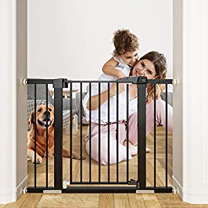 OTTOLIVES Metal Baby Gate Pet Gate 27-40 Inch Extra Wide Pressure Mounted Dog Gate for Stairs & Doorways Baby Gate with Door Walk Through Easy Step NO Need Tools NO Drilling, Adjustable Size (Black)
