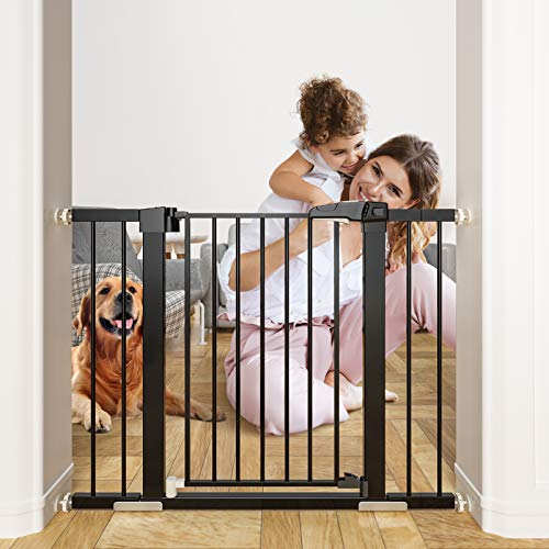 OTTOLIVES Metal Baby Gate Pet Gate 27-38 Inch Extra Wide Pressure Mounted Dog Gate for Stairs & Doorways Baby Gate with Door Walk Through Easy Step NO Need Tools NO Drilling, Adjustable Size (Black)