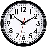 Bernhard Products Black Wall Clock 8' Silent Non-Ticking Quality Quartz Battery Operated Small Clock for Home/Office/Kitchen/Classroom/Bedroom Easy to Read (Black, 1 Clock)