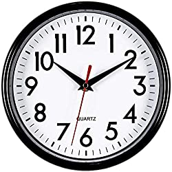 Bernhard Products Black Wall Clock 8 Silent Non-Ticking Quality Quartz Battery Operated Small Clock for Home/Office/Kitchen/Classroom/Bedroom Easy to Read
