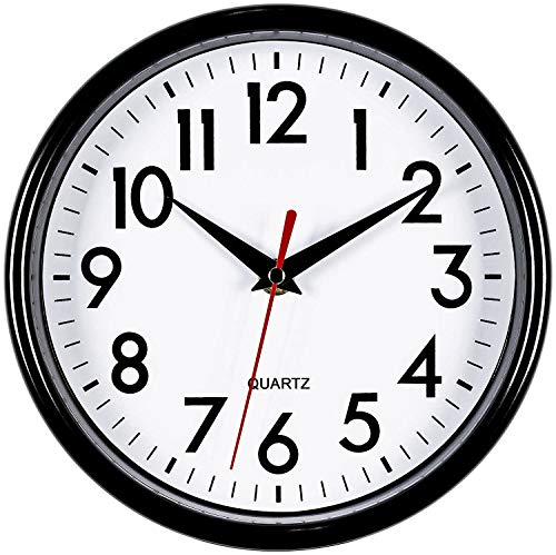 """Bernhard Products Black Wall Clock 8"""" Silent Non-Ticking Quality Quartz Battery Operated Small Clock for Home/Office/Kitchen/Classroom/Bedroom Easy to Read (Black, 1 Clock)"""