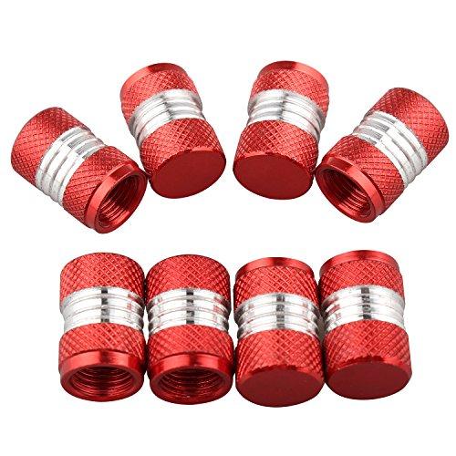 Futheda 8 Tapones de aleación de Aluminio para válvulas de neumáticos universales de Color Negro para Coche, Moto o Moto Schrader (Rojo)