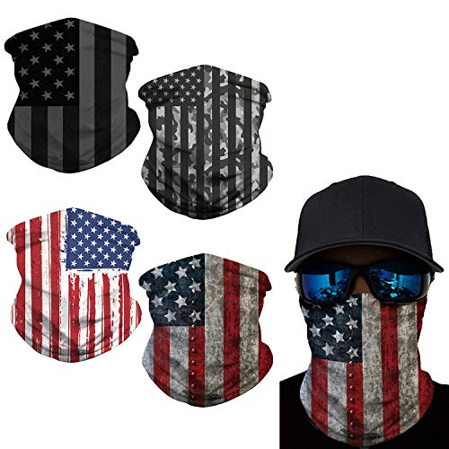 4 Pieces American US Flag Face Bandana Neck Gaiter, Washable Reusable Sun UV Protection Dust Motorcycle Balaclava for Men Women