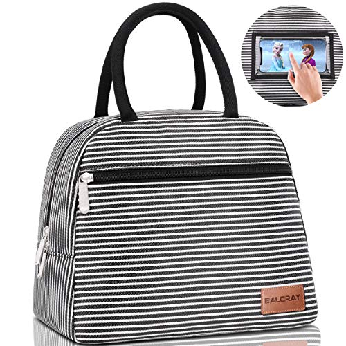 BALORAY Lunch Bag for Women Tote Cooler Bag with Phone Holder Pocket Leak-proof Liner Insulated Lightweight Lunch Box Lunch Bags for women/Picnic/Boating/Beach/Fishing/Work (Black white strip)
