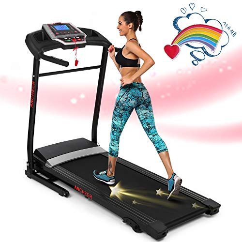 ANCHEER Folding Treadmill for Home with Smartphone Sports APP,Smart Electric FoldableJog Space Walk Machine with 3 Level Manual Incline,Easy Assembly Exercise Machine for Small Spaces (Black)