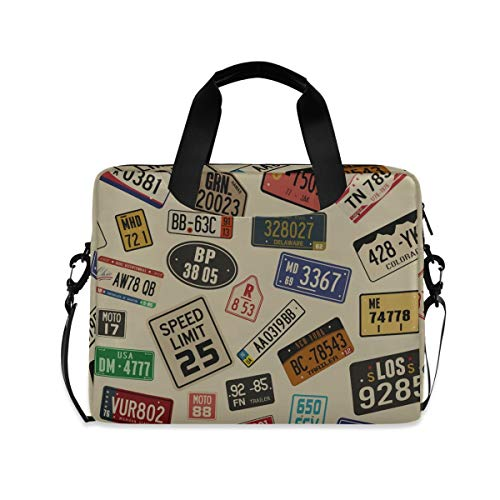 XIXIKO Retro Car Number Plates Laptop Bag Expandable Trolley Briefcase Bag for Women Men with Detachable Strap for Work Trip Business Travel iPad MacBook