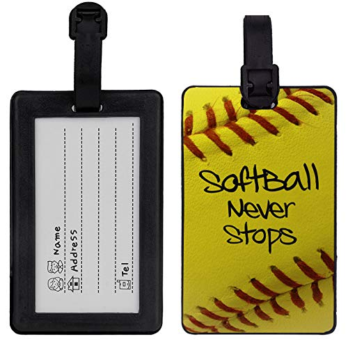Matcase for Luggage Travel Bag Tags - Softball Never Stops Pattern with Steel Loops American Tourister luggage sets (Black)