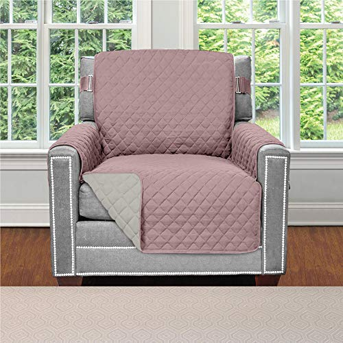 Sofa Shield Original Patent Pending Reversible Chair Protector for Seat Width up to 23 Inch, Furniture Slipcover, 2 Inch Strap, Chairs Slip Cover Throw for Pets, Kids, Cats, Armchair, Dusty Rose Linen