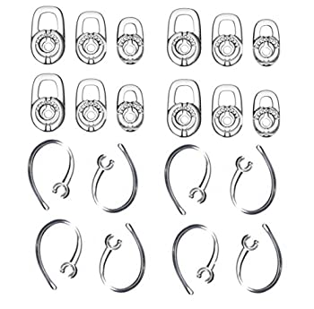 Zotech Earbud Gel & Ear Hook for Plantronics 12 Pcs  Small/Medium/Large  Clear Replacement Eargel & 8 Pcs Clear Ear Hook Fit for Plantronics M155 M165 M1100 M100 M55 M28 M25 Voyager Edge