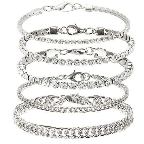 kelistom Cuban Link Rhinestone Tennis Anklet Set for Women Teen Girls, 18K Gold or White Gold Plated Chain Ankle Bracelets for Women with Extension
