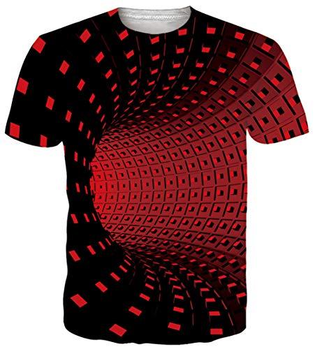 Idgreatim Frauen Männer Universum Katze Sternenhimmel 3D Gedruckt Sommer Casual Kurzarm Baum T-Shirts