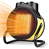 HUNTINGOOD Heater,Electric Heater,Space Heater,with1500W PTC, 3 Modes, 3s Fast Heating, Thermostat with Overheat Protection, 90° Rotation, Portable for Indoor and Patio,2 in 1 for All Year(1500W)