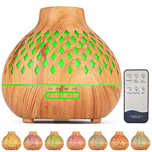 FRECOO Aroma Diffuser, 400ml Ultraschall Leise Luftbefeuchter, BPA-Free Aromatherapie Diffusor Ätherische Öle Luftbefeuchter mit 7 Farben LED für zuhause, Yoga,Büro Spa Schlafzimmer