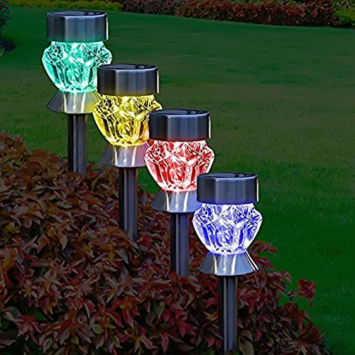 GreeSuit LED ソーラーライト ステンドグラス風 屋外 ガーデンライト 7光変更 自動点灯/自動消灯 防水 (4本セット)
