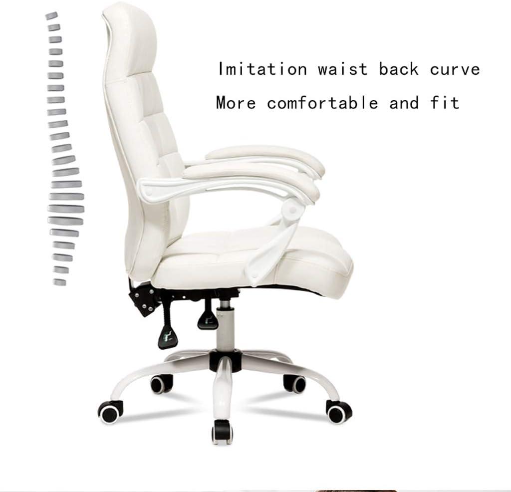 Fauteuil pivotant chaise/tabouret grand anticlinal chaise pivotante étudiant patron moderne chaise/bureau d'ordinateur à la maison minimaliste Siège pivotant (Color : White) Gold