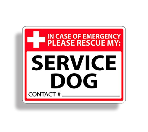 Service Dog Rescue Safety Sticker 911 Pet K9 Alert Window Door Decal Graphic